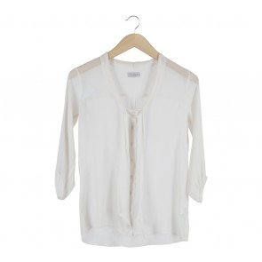 Pull & Bear Cream Ribbon Blouse