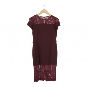 The Executive Maroon Midi Dress