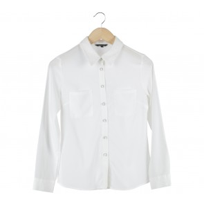 The Executive White Sequined Collar Shirt