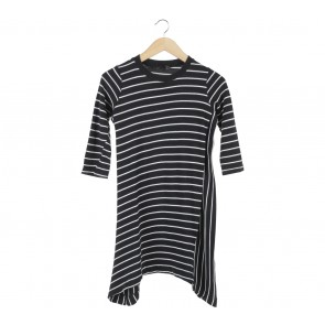 Zara Black And White Striped Tunic Blouse