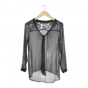 Zara Black Lace Tied Blouse