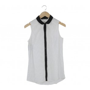 Zara White And Black Trim Sleeveless