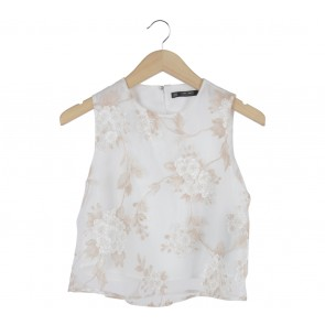 Zara White Floral Sleeveless