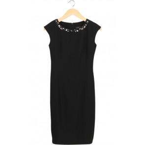 Black Beaded Sleeveless Midi Dress