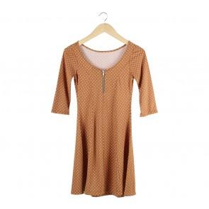 Lookboutiquestore Brown Polka Dot Mini Dress