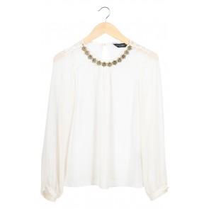 Cream Lace Necklace Blouse
