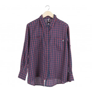 RIP CURL Dark Blue And Red Plaid Shirt