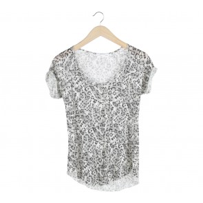 Zara Black And Off White Leopard T-Shirt