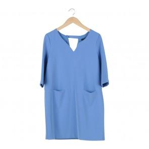 Mango Blue Polyester Mini Dress