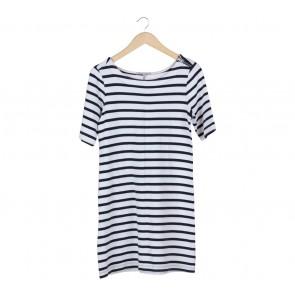 GAP White And Black Striped Mini Dress