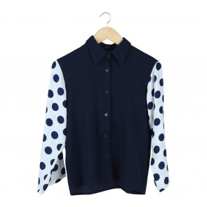 Beste Project Dark Blue And White Polka Dot Combi Shirt