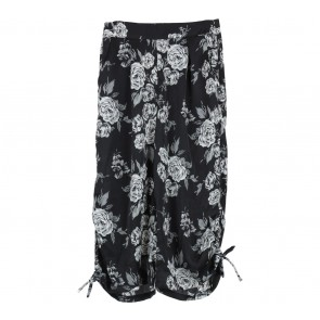 Beste Project Black Floral Ribbon Culottes Pants