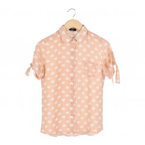 Beste Project Peach And White Patterned Shirt