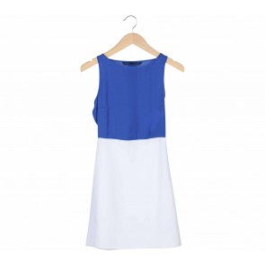 Zara Blue And White Midi Dress