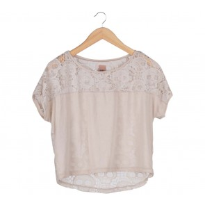 Zara Cream Lace Up T-Shirt