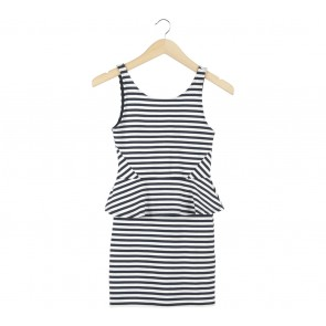 Divided Dark Blue And White Striped Mini Dress