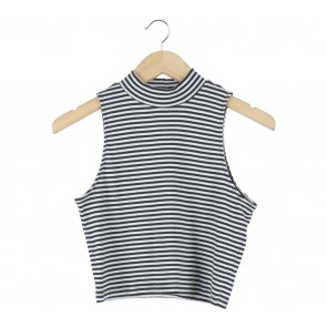 Divided Dark Blue And White Striped Sleeveless