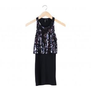 H&M Black Sequins Sleeveless Mini Dress