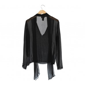 BCBG  Black Sheer Ribbon Blouse