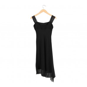 BCBG Black Sleeveless Flare Midi Dress