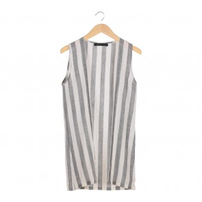 Bambina Closet  Grey And Off White Striped Vest