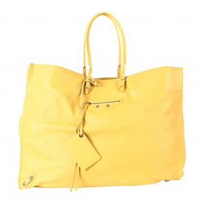 Balenciaga Yellow Yellow Calfskin Leather Papier XL Tote Bag