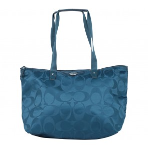Coach Blue Monogram Getaway Signature Nylon Packable Weekender Tote Bag