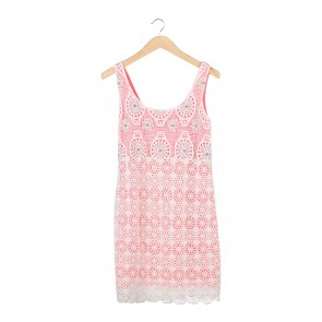 Suite Blanco  Pink And Cream Perforated Mini Dress