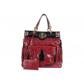 Balenciaga Red And Black Lune Tote Bag