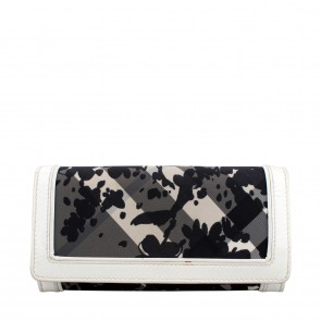 Burberry White Beat Check Floral Continental Wallet