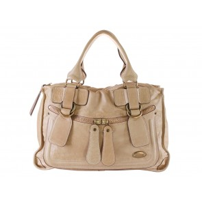 Chloe Beige Leather Tote Bag