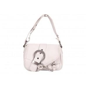 Christian Dior White Mini Gaucho Saddle Tote Bag