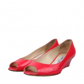 Jimmy Choo Red Bergen Patent Leather Wedges
