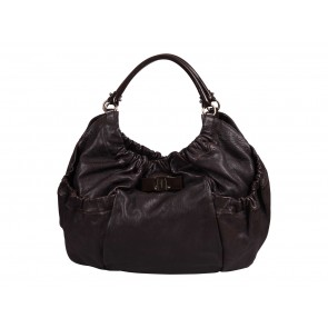 Salvatore Ferragamo Brown Vara Bow Shoulder Bag