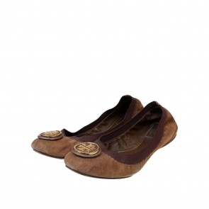Tory Burch Brown Suede Ballerina Flats