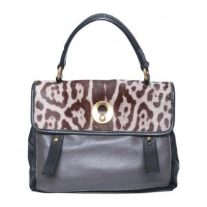 Yves Saint Laurent Black Muse 2 Small Leopard-print Pony Hair and Leather Combination Tote Bag