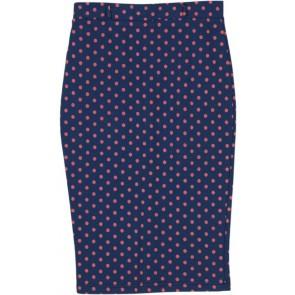 Blue Polkadot Midi Skirt