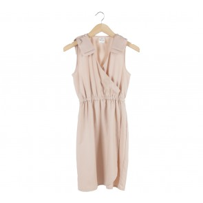 Petite Cupcake Peach Wrap Mini Dress