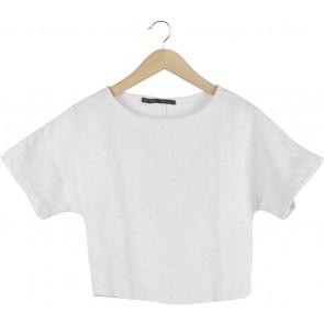 Zara Off White And Yellow Polka Dot Cropped Blouse