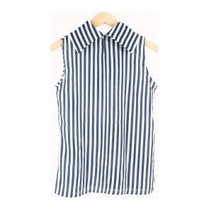 Blue And White Striped Sleeveless