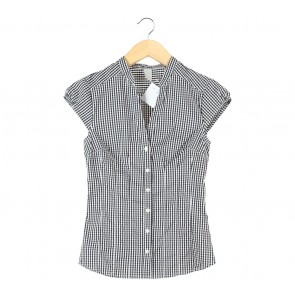 H&M Black And White Plaid Blouse