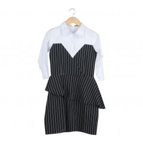 White And Black Striped Midi Dress