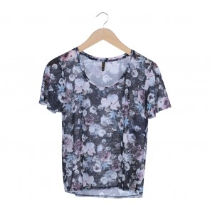 Stradivarius Black Floral Knitted T-Shirt
