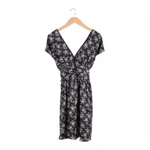 Alano Black Floral Low Cut Mini Dress