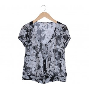 Forever 21 Black Floral Sheer Blouse