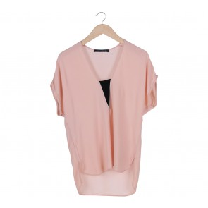 Zara Peach And Black Detail T-Shirt