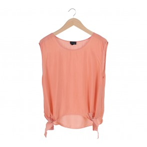 Topshop Peach Double Bowed Blouse