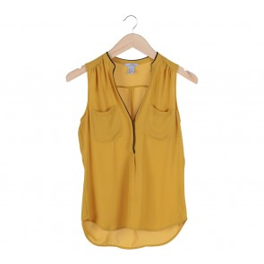 H&M Yellow With Blalck Trim Pocket Sleeveless