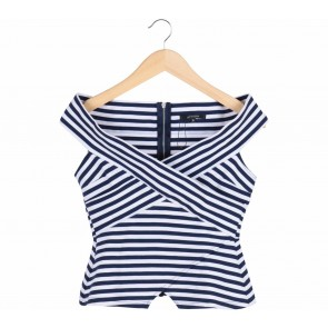 Portmans Blue and White Stripped Cross Blouse Sleeveless
