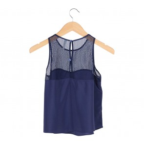 Bershka Blue Lace Insert Sleeveless